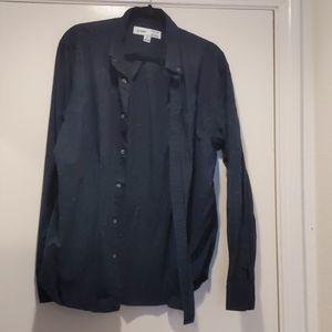 Men's Navy speckled button down shirt